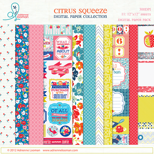 adrienne looman citrus squeeze digital paper collection