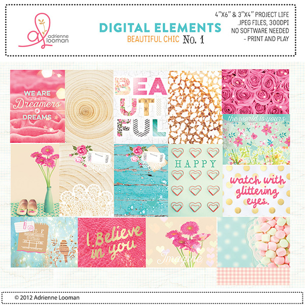 Adrienne Looman digital scrapbooking project life cards