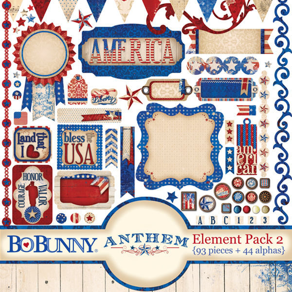 Bo Bunny patriotic digital scrapbooking element kit
