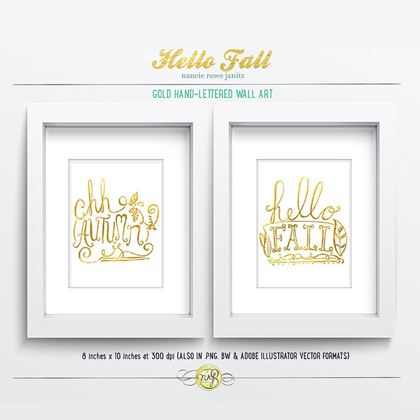 gold handlettered fall wall art by nancy rowe janitz