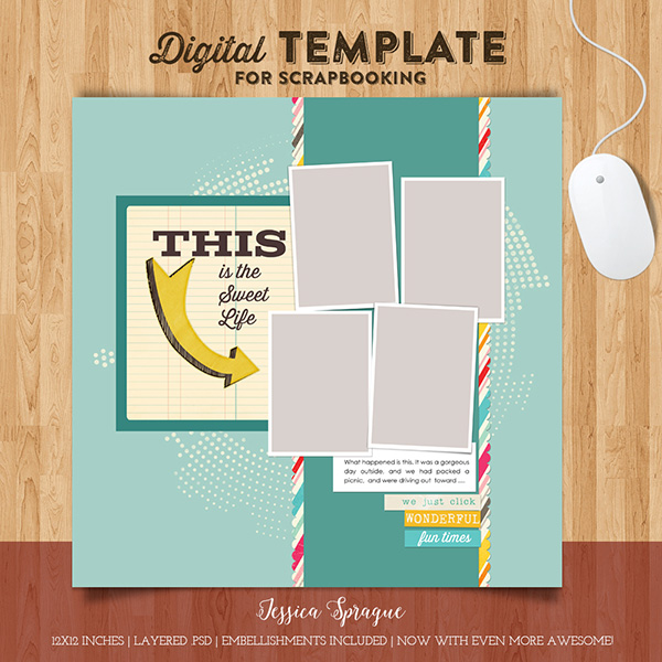 Jessica Sprague 12x12 digital template