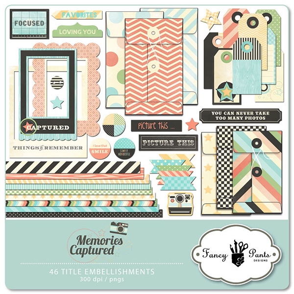 memories captured digital scrapbooking element pack by fancy pants design