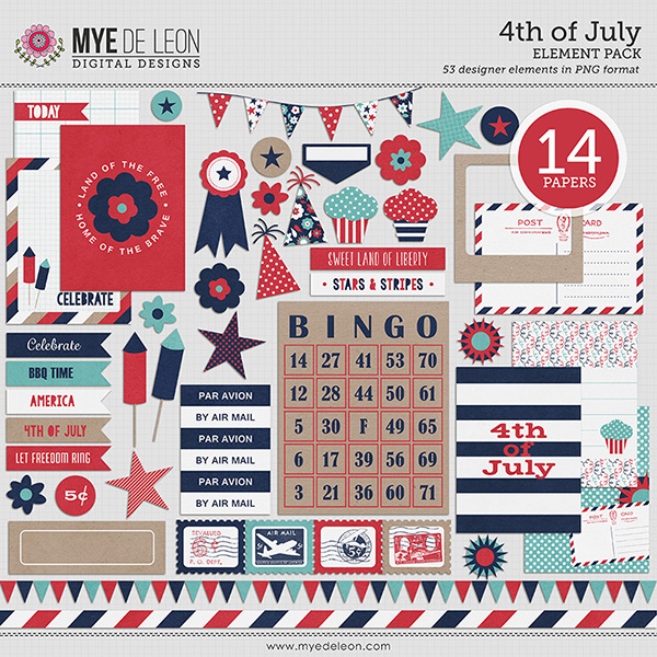 Mye De Leon patriotic digital scrapbooking element pack