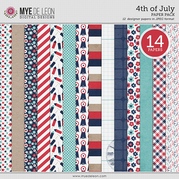 Mye De Leon patriotic digital scrapbooking paper pack