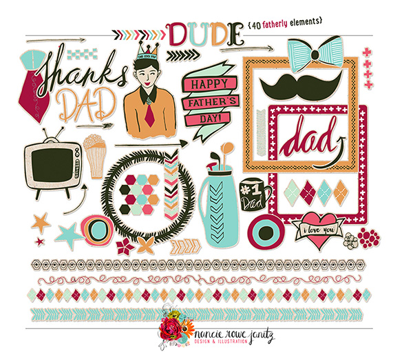 nancy rowe janitz dude elements digital scrapbooking kit