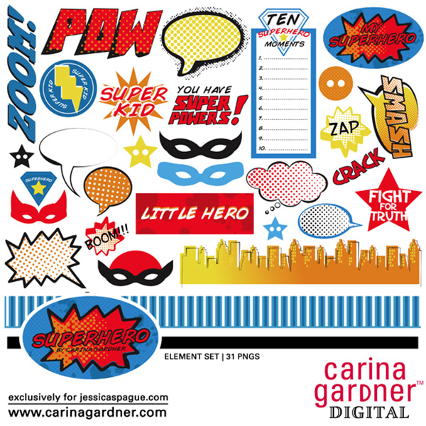 Carina Gardner superhero digital scrapbooking element kit