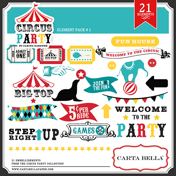 Carta Bella Circus Party Digital Element Kit