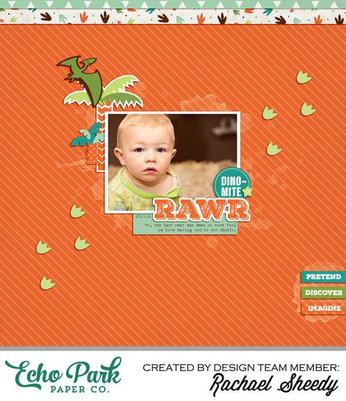 Dinosaur Adventure Digital Layout by Rachael Sheedy for Echo Park Paper