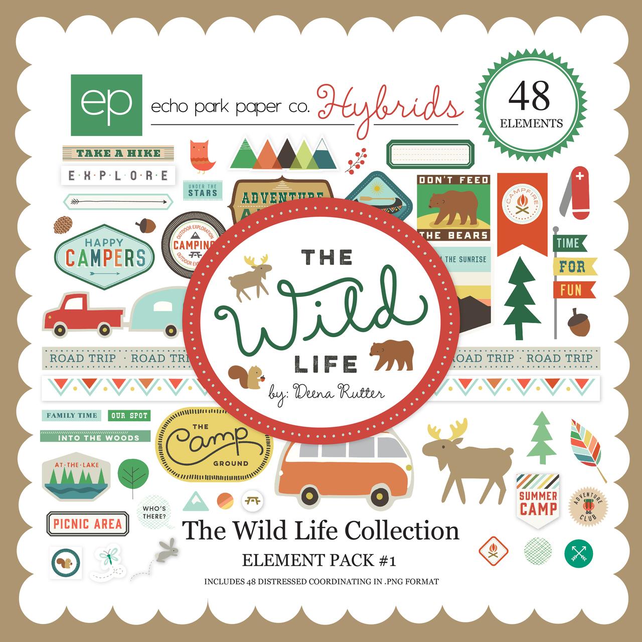 Scrapbook paper echo park - Echo Park The Wild Life Digital Element Pack