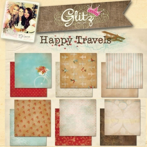 Glitz Design Happy Travels Digital Paper Kit