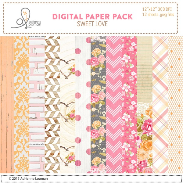 Adrienne Looman Sweet Love digital paper kit available at www.snapclicksupply.com #digitalscrapbooking #adriennelooman