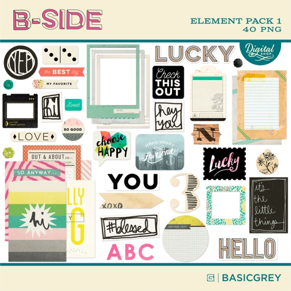 Basic Grey digital element kit available at www.snapclicksupply.com. #digitalscrapbooking #snapclicksupply
