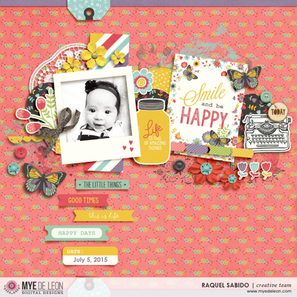 Digital scrapbook page by designer RAQUEL SABIDO featuring the Day By Day kit by Mye De Leon available at www.snapclicksupply.com #digitalscrapbooking #snapclicksupply