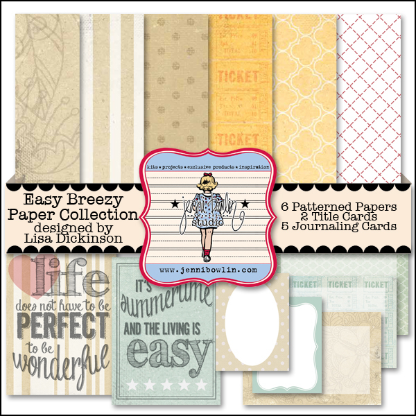 Jenni Bowlin Studio Easy Breezy digital paper pack available at www.snapclicksupply.com. #digitalscrapbooking #Jennibowlinstudio
