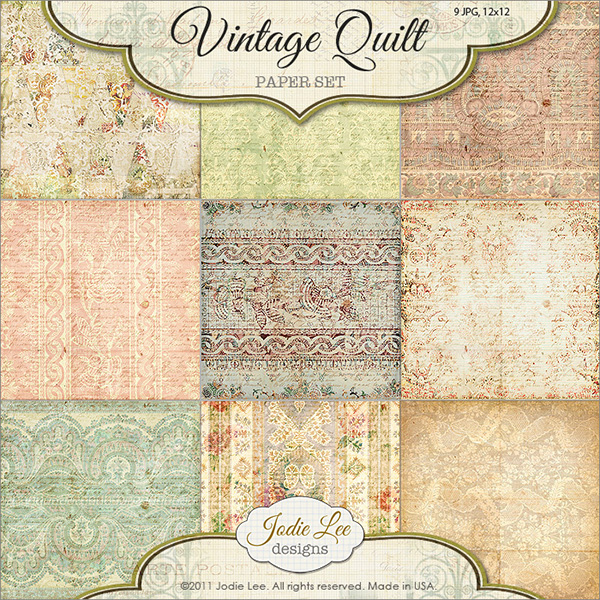 Jodie Lee Vintage Quilt digital scrapbooking papers available at www.snapclicksupply.com #digitalscrapbooking #jodieleedesign