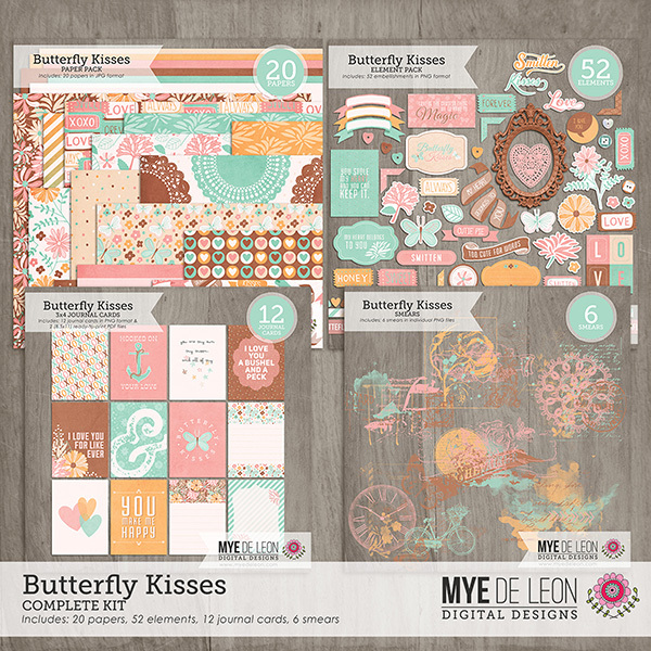 Butterfly Kisses digital scrapbooking kit by Mye De Leon available at www.snapclicksupply.com #digitalscrapbooking #snapclicksupply