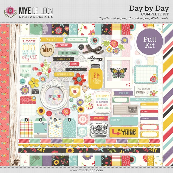 Day By Day complete digital scrapbooking kit by Mye De Leon available at www.snapclicksupply.com #digitalscrapbooking #snapclicksupply