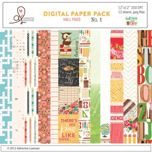 Adrienne Looman Hall Pass Digital Paper Pack No. 1 available at www.snapclicksupply.com #digitalscrapbooking #snapclicksupply