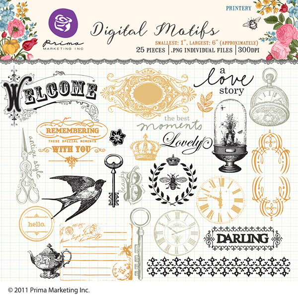 Prima Marketing Printery digital elements kit available at www.snapclicksupply.com #digitalscrapbooking #primamarketing