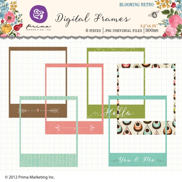 Prima Marketing digital photo frames available at www.snapclicksupply.com. #digitalscrapbooking #snapclicksupply