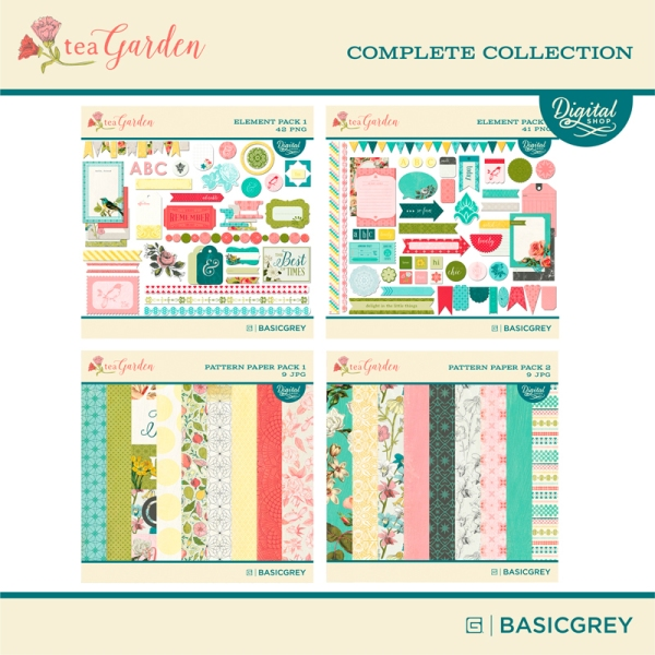 Basic Grey Tea Garden complete digital collection available at www.snapclicksupply.com #digitalscrapbooking #snapclicksupply