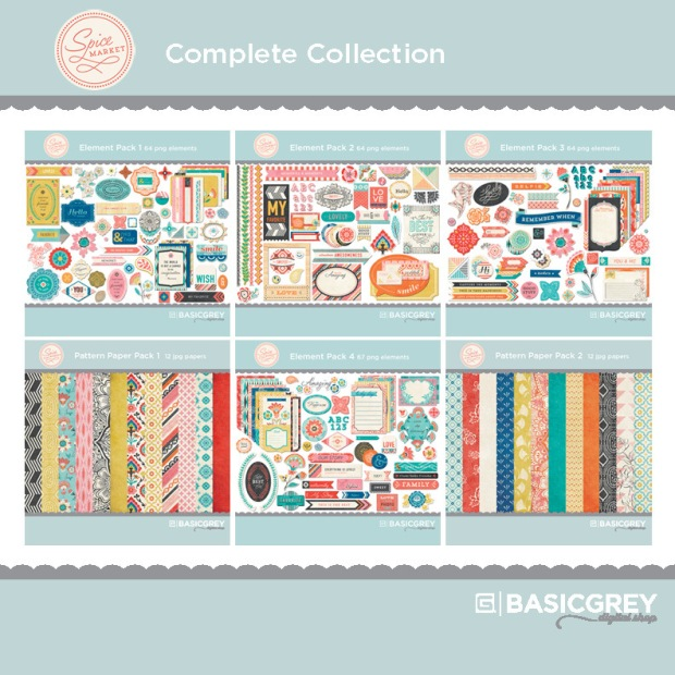 Basic Grey Spice Market digital scrapbook collection available at www.snapclicksupply.com #digitalscrapbooking #basicgrey