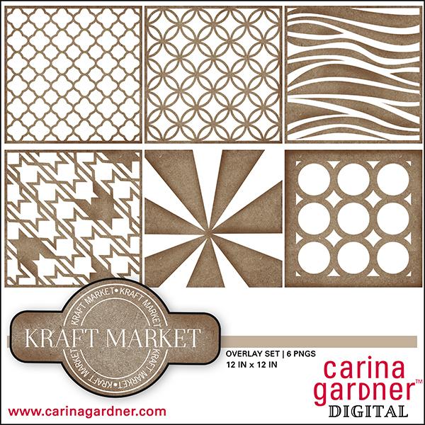 Carina Gardner Kraft Market digital overlay set available at www.snapclicksupply.com #digitalscrapbooking #snapclicksupply