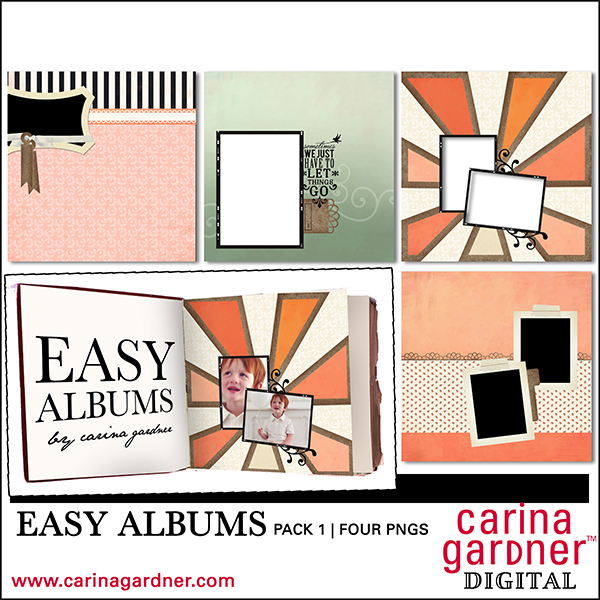 Carina Gardner Easy Albums Pack 1 digital kit available at www.snapclicksupply.com #digitalscrapbooking #snapclicksupply