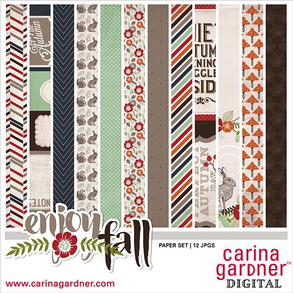 Carina Gardner Enjoy Fall digital paper kit available at www.snapclicksupply.com #digitalscrapbooking #snapclicksupply