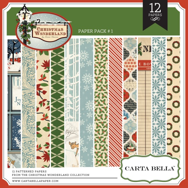Carta Bella Christmas Wonderland digital paper pack available at www.snapclicksupply.com #digitalscrapbooking # snapclicksupply
