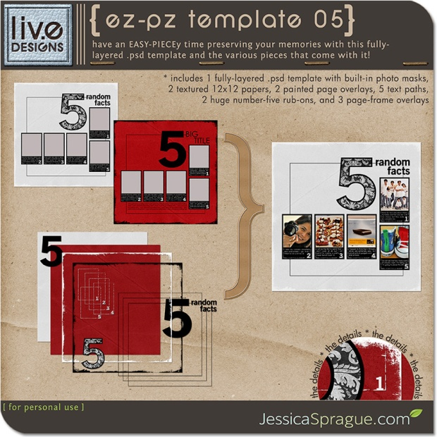 Liv EDesigns EZ-PZ Template No 5 available at www.snapclicksupply.com #digitalscrapbooking