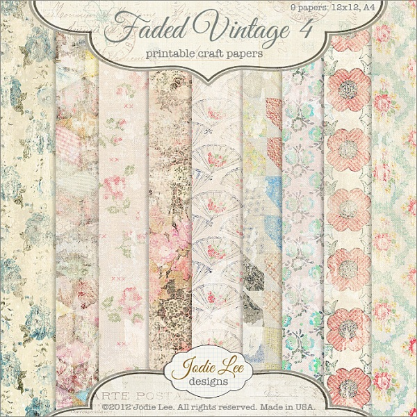 Jodie Lee Faded Vintage Papers available at www.snapclicksupply.com #digitalscrapbooking #snapclicksupply