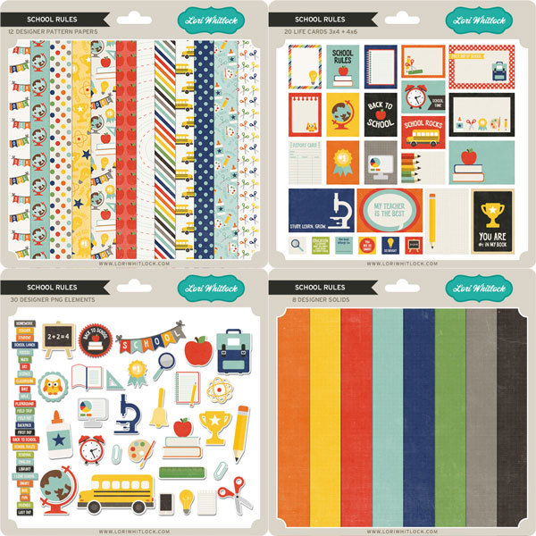 Lori Whitlock School Rules digital scrapbooking kit available at www.snapclicksupply.com #digitalscrapbooking #snapclicksupply