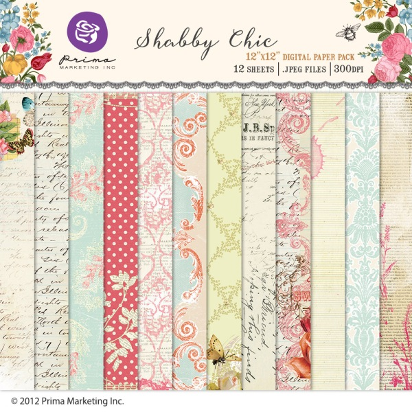 Prima Marketing Shabby Chic digital scrapbooking paper kit available at www.snapclicksupply.com #snapclicksupply #digitalscrapbooking