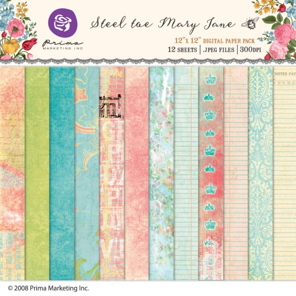 Prima Marketing Steel Toe Mary Jane digital papers available at www.snapclicksupply.com #digitalscrapbooking #snapclicksupply