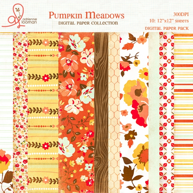 Adrienne Looman Pumpkin Meadows Paper Pack available at www.snapclicksupply.com #digitalscrapbooking #snapclicksupply