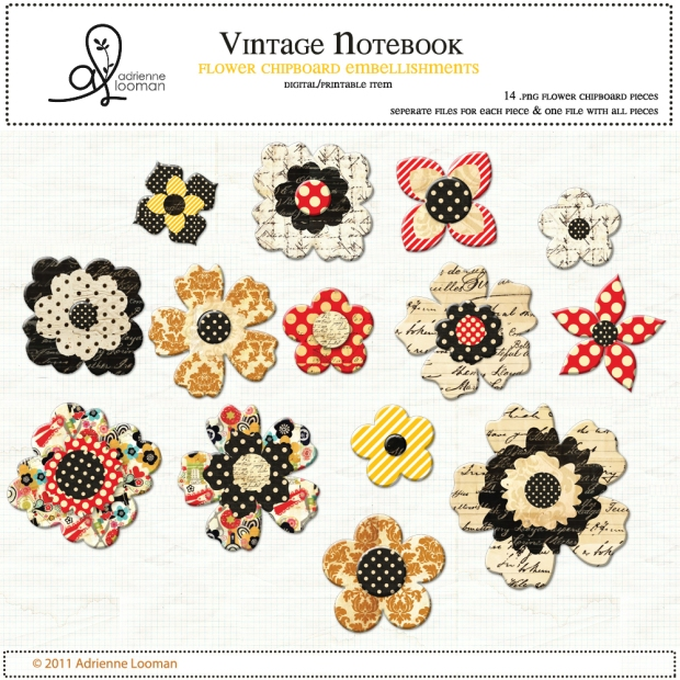 Adrienne Looman Vintage Notebook Chipboard Embellishment Pack available at www.snapclicksupply.com #digitalscrapbooking #snapclicksupply