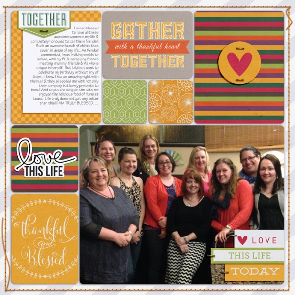 Digital scrapbook layout featuring the Gather Together collection by Mye De Leon available at www.snapclicksupply.com #digitalscrapbooking #snapclicksupply