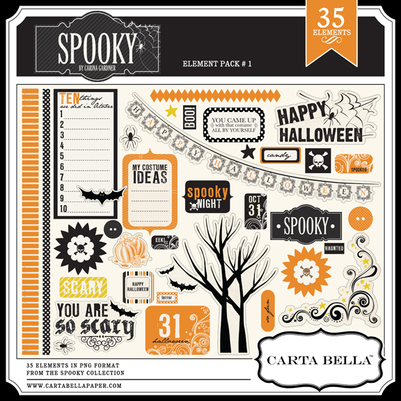 Carta Bella Spooky digital elements kit available at www.snapclicksupply.com #digitalscrapbooking #halloween