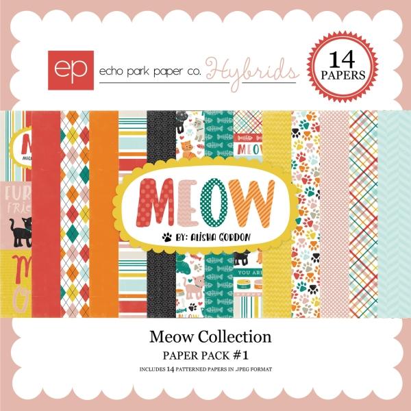 Echo Park Meow digital paper kit available at www.snapclicksupply.com #digitalscrapbooking #snapclicksupply