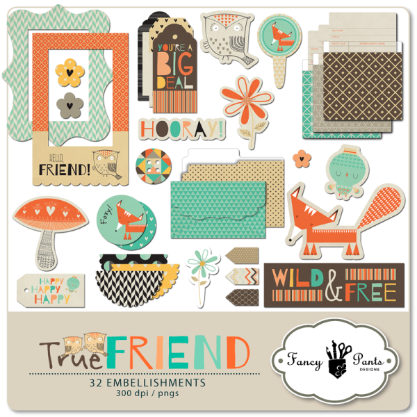 Fancy Pants Designs True Friend Element Pack available at www.snapclicksupply.com #digitalscrapbooking #snapclicksupply