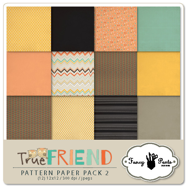 Fancy Pants Designs True Friend Paper Pack available at www.snapclicksupply.com #digitalscrapbooking #snapclicksupply