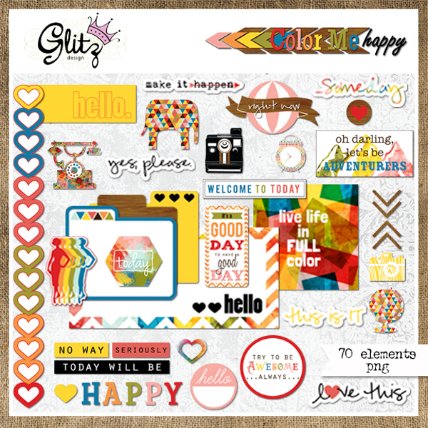 Glitz Design Color Me Happy Element Packavailable at www.snapclicksupply.com #digitalscrapbooking #snapclicksupply