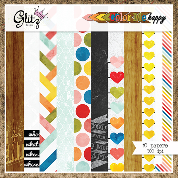 Glitz Design Color Me Happy Paper Pack available at www.snapclicksupply.com #digitalscrapbooking #snapclicksupply