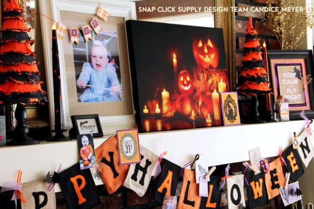 Halloween Mantel by Candice Meyer featuring Echo Park Hybrid's Hocus Pocus collection available www.snapclicksupply.com #halloween #hybridproject