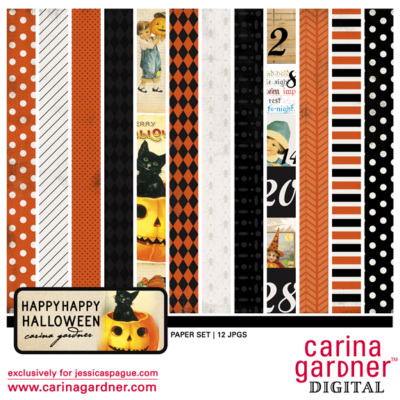 Happy Happy Halloween digital paper kit by Carina Gardner available at www.snapclicksupply.com #digitalscrapbooking #halloween