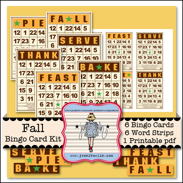 Jenni Bowlin Studio Fall Bingo Card Kit available at www.snapclicksupply.com #digitalscrapbooking #snapclicksupply