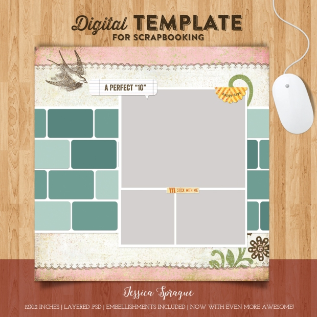 Jessica Sprague Digital Scrapbook Perfect 10 Template available at www.snapclicksupply.com #digitalscrapbooking #snapclicksupply