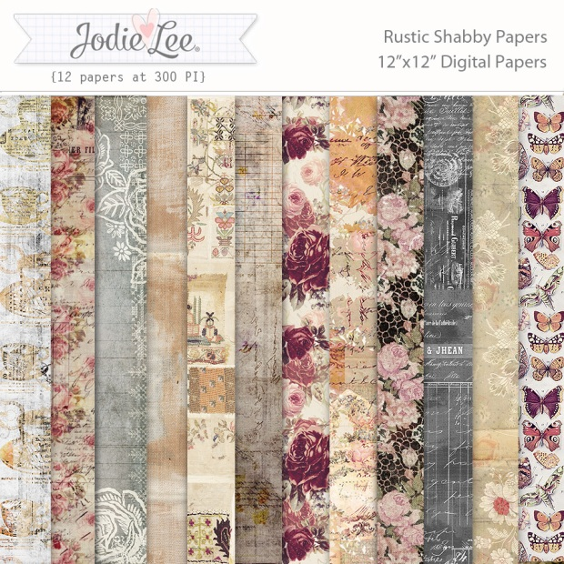 Jodie Lee Rustic Shabby Digital Paper Pack available at www.snapclicksupply.com #digitalscrapbooking #snapclicksupply