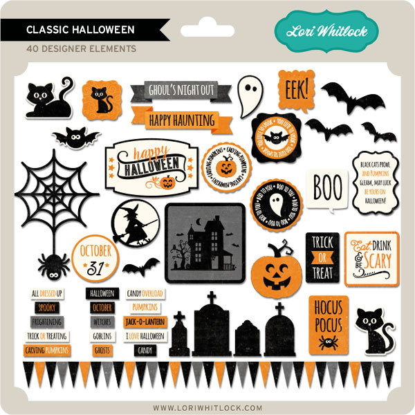 Lori Whitlock Classic Halloween Element Pack available at www.snapclicksupply.com #snapclicksupply #halloween